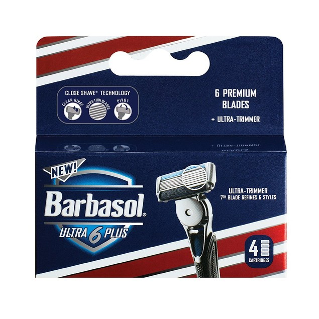 Barbasol Ultra 6 Plus Manual Razor Blade Refills Cartridges For Men, 4