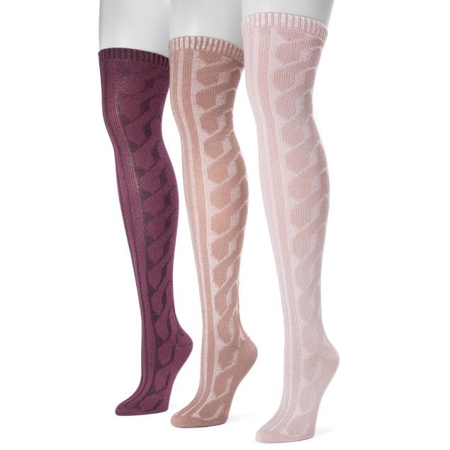 MUK LUKS ® Women's 3 Pair Pack Cable Knit Over the Knee Socks