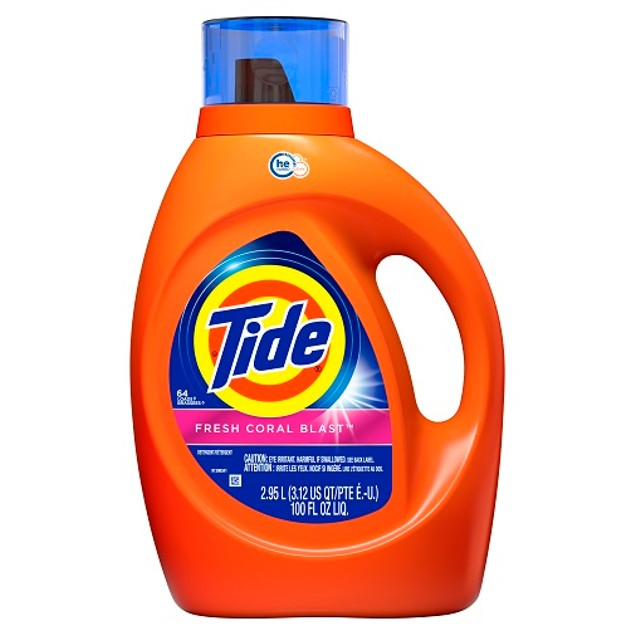 Tide Fresh Coral Blast HE Liquid Laundry Detergent 100 oz