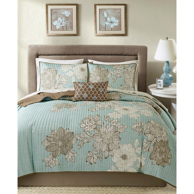 Madison Park Essentials Avalon 8 Pc, Geometric Print Coverlet Set, King,