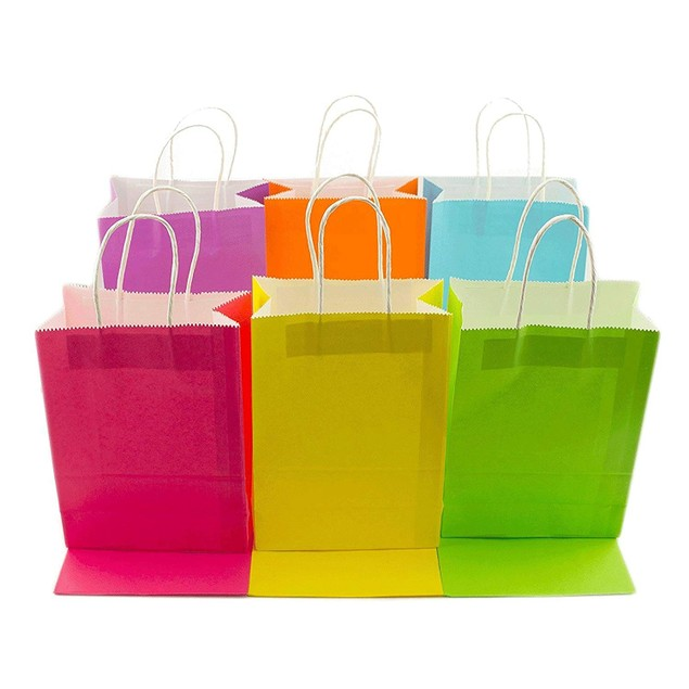12 Pc Neon Paper Party Gift Bags Rainbow Assortment with String Handles