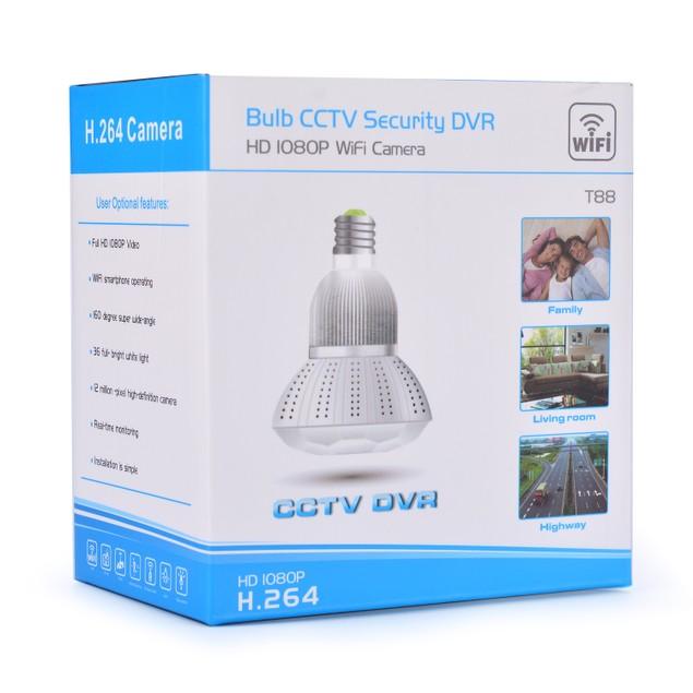 Full HD 1080P  Hidden spy Camera WIFI IP Light Bulb Camera CCTV Camera