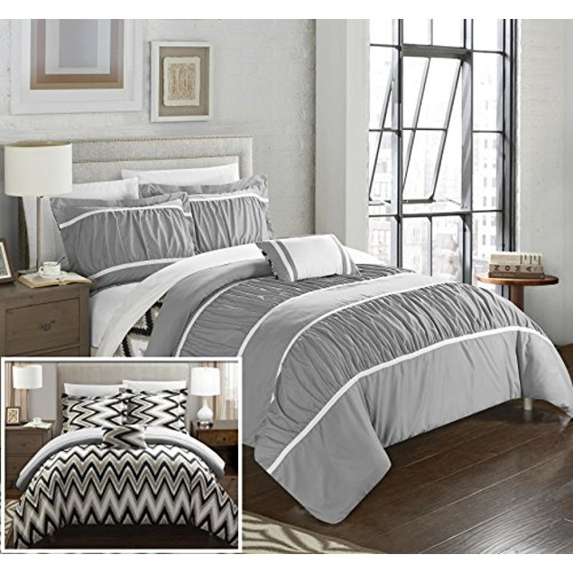 Chic Home Paloma Pleated with Chevron REVERSIBLE Comforter Set