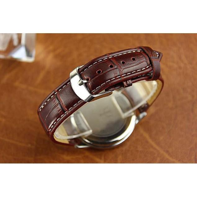 Men's Leather Analog Quartz Waterproof Wrist Watch