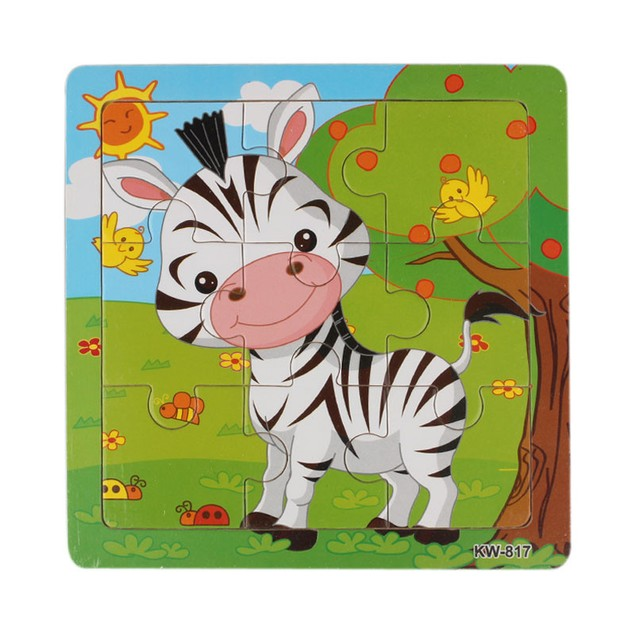 Wooden Zebra Jigsaw Toys For Kids Education Puzzles Toys