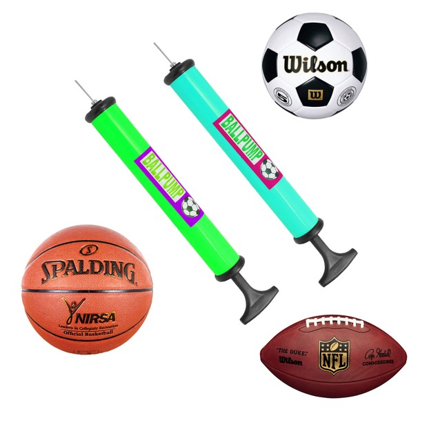 2-Pack Portable Air Pump W/ Pin Needle Basketball Football Soccer Cycling