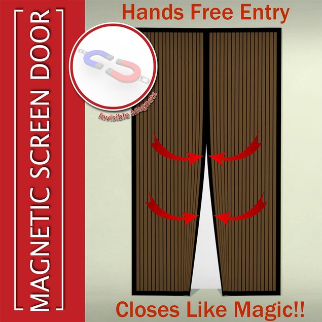 Magnetic Mosquito Screen Door - Mesh Fits Doors Hands Free Magic Closer
