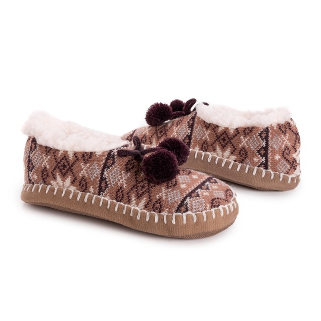 MUK LUKS Women's Pom Ballerina Slippers
