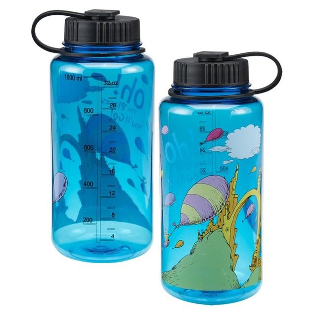"Dr. Seuss ""Oh the Places You'll Go"" 32 oz. Tritan Water Bottle Book Movie"