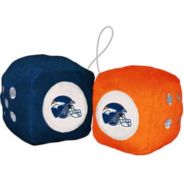 Denver Broncos Fuzzy Dice NFL Football Team Logo Plush Car Truck Auto