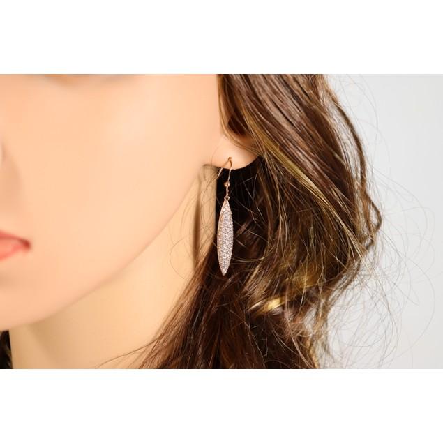 fusiform zirconia drop earrings