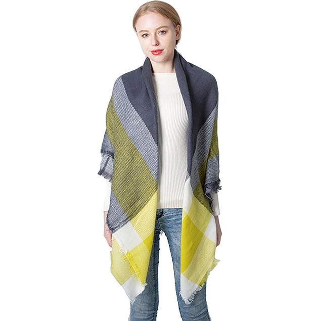 Female Double-Sided Shawl With Imitation Cashmere Square Scarf