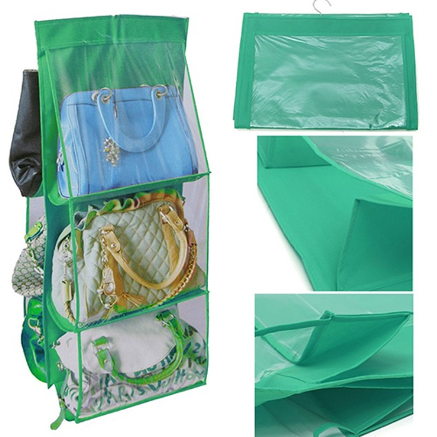 6Pockets Hanging Handbag Purse Bag Tidy Organizer Storage