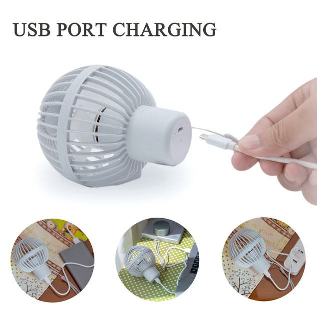 Portable Mini Handheld Fan for Office Room Outdoor Traveling Camping, Grey