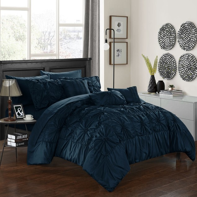 Chic Home 8/10 Pc. Mayfield Floral Pinch Pleat Designer Comforter Set