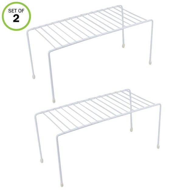 Kitchen Shelves, Cabinet Organization Mini Storage Shelf, White,Set of 2