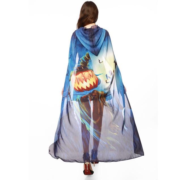 Women Novelty Pumpkin Print Chiffon Cape Scarf Halloween Poncho Shawl Wrap