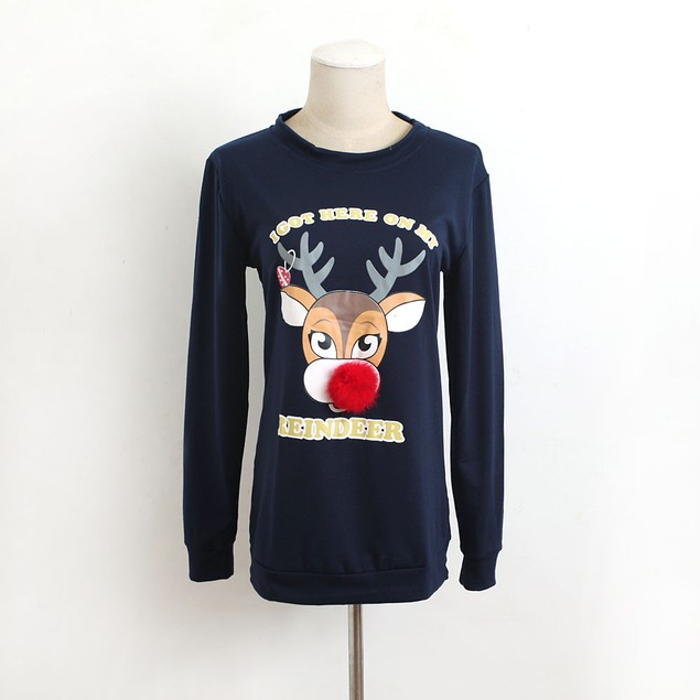 Women Casual Christmas Deer Printed Pullover Christmas T-Shirt Tops Blouse