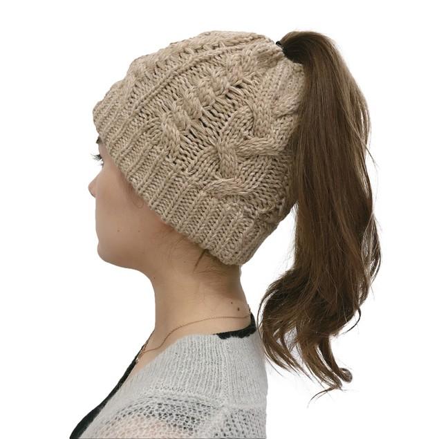 Ladies Ponytail Knitted Twist Hat