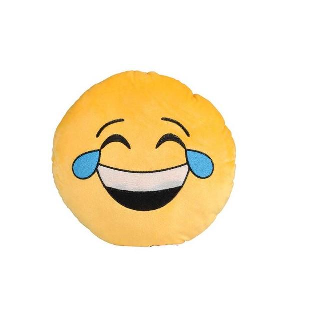 Laughing Crying Yellow Emoji Pillow