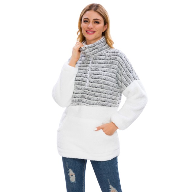 Long Sleeve Striped Color Block Sherpa Pullover