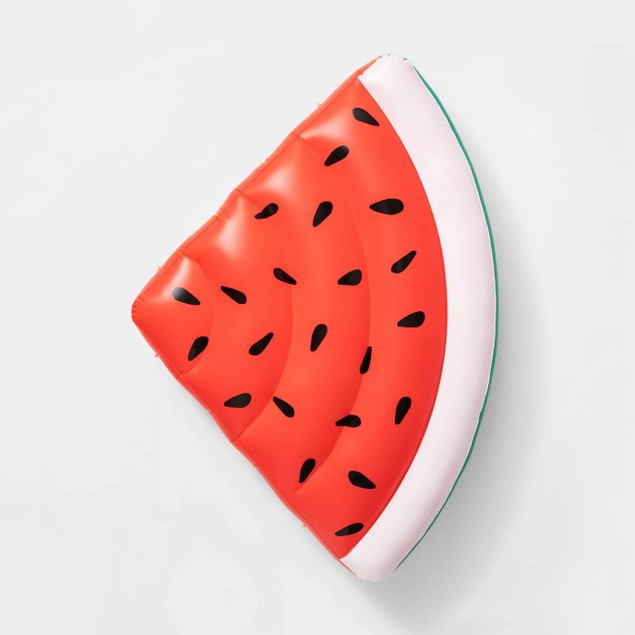 Sun Squad Inflatable Giant Watermelon Slice Pool Float Raft, Age: 8+, Red