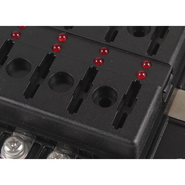 100A 12 Way LED indicates  Blade Fuse Box Block Holder Standard ATO