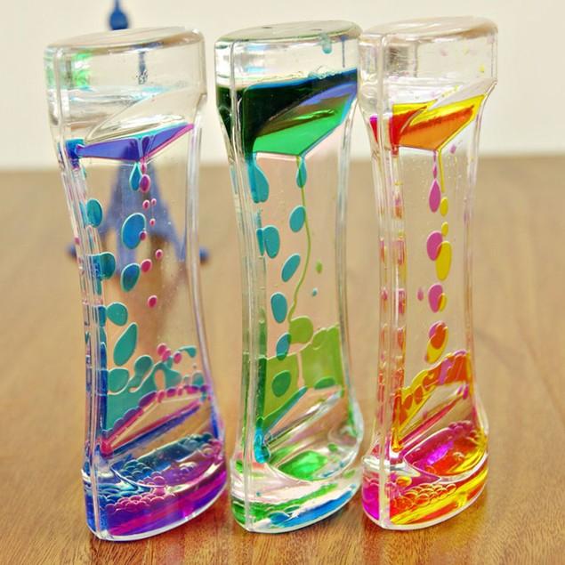 Double Colors Oil Hourglass Liquid Floating Motion Bubbles Timer