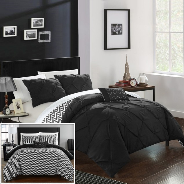 Chic Home 4 Piece Nadette Pinch Pleated Reversible Ruffled Comforter Set