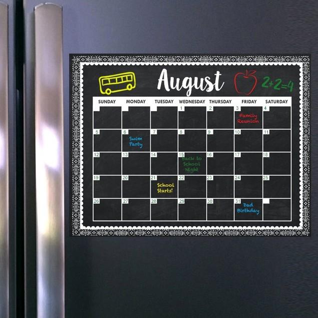 Magnetic Dry Erase Calendar + 2 Markers