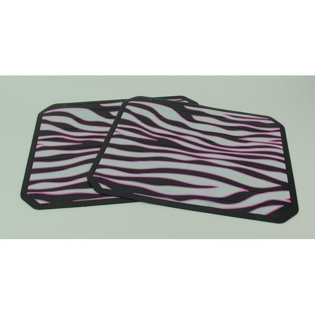 Set Of 2 Pink Safari Zebra Striped Plasticlear Floor Comfort Mats