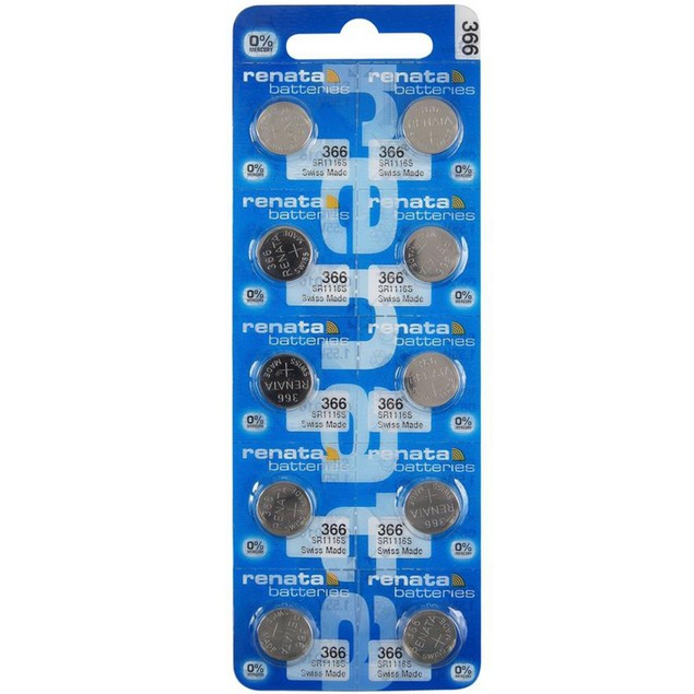 Renata 366 (SR1116) Silver Oxide Watch Batteries (10 Pack)