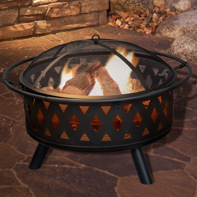 Pure Garden 32 inch Round Crossweave Fire Pit with Cover - Black