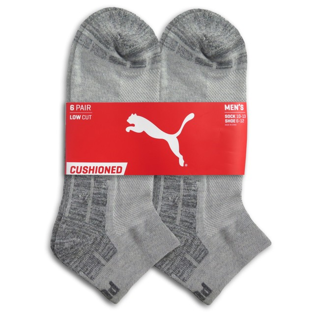 6-Pairs PUMA Low Cut Mens Socks Stay-Up Cuff and Heel Cushioned