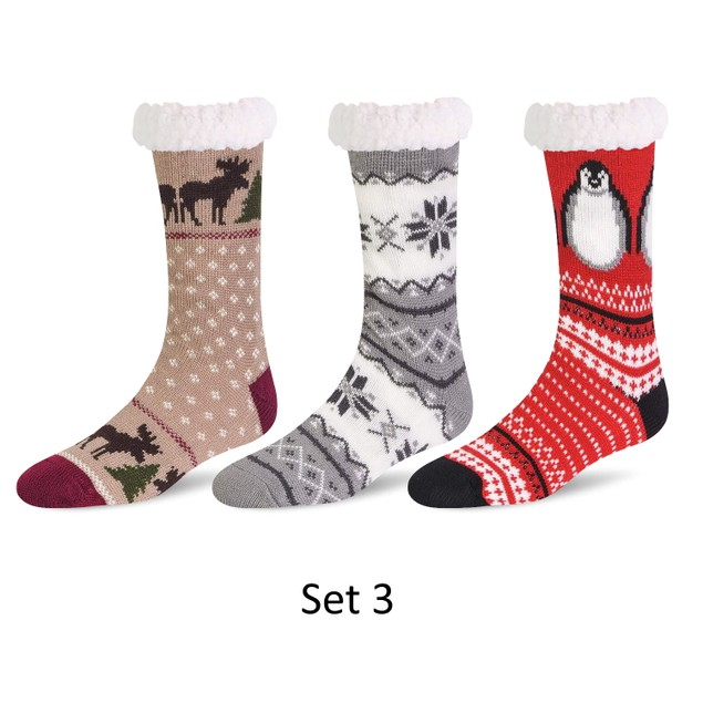 3 Pairs of Women's Sherpa-Lined Thermal Non-Skid Slipper Socks