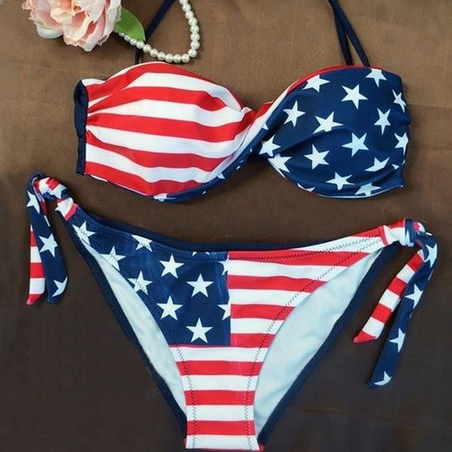 Women Bikini Set Push-Up Padded Print Bra Swimsuit Beachwear