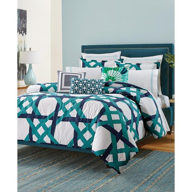 Trina Turk Pacifica Pier Lattice Comforter and Duvet Sets, King, Green