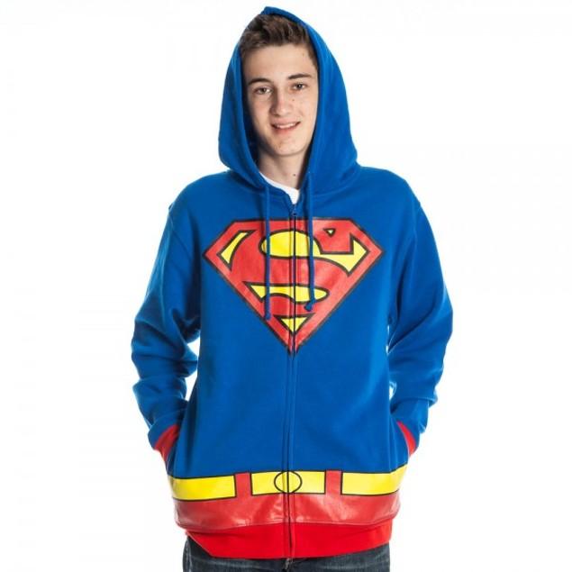 Superman Adult Hoodie Costume Man Of Steel DC Comics Super Hero Superhero