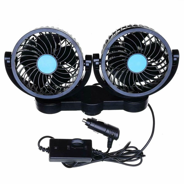 Zone Tech 12V Dual Head Car Cooling Oscillating Back Seat Ventilation Fan
