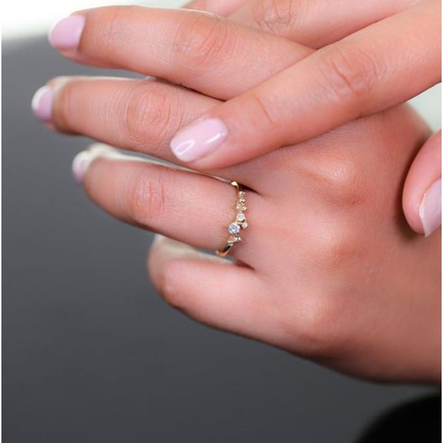 18K Dainty Stack-able CZ Rings- 3 Colors