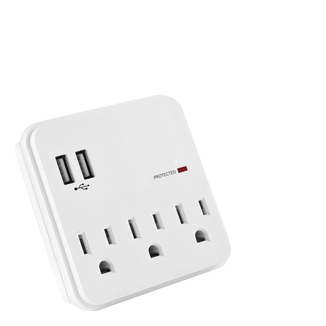Multi Outlet Wall Adapter Surge Protector with 3 Outlets & 2 USB Ports