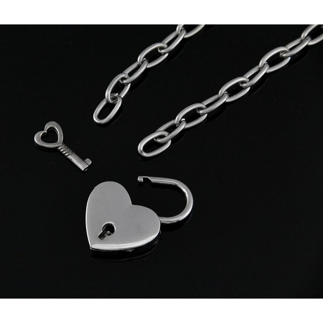 Chrome Finished Heart Padlock Pendant Choker Pendant Necklaces