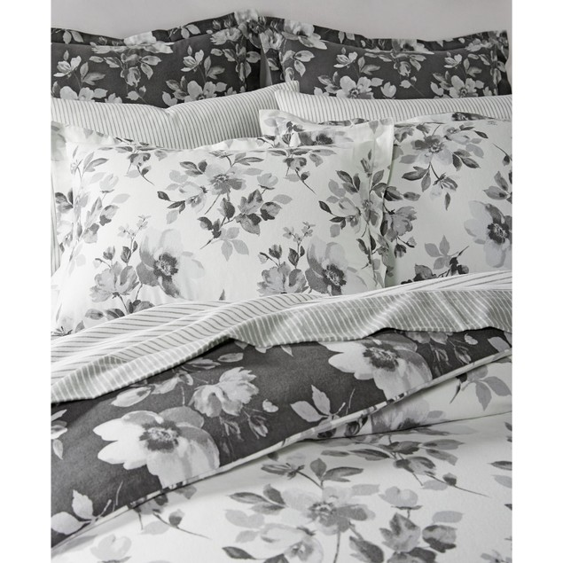 "Martha Stewart Collection 86"" x 68"" Magnolia Shadow Twin Duvet Cover,"