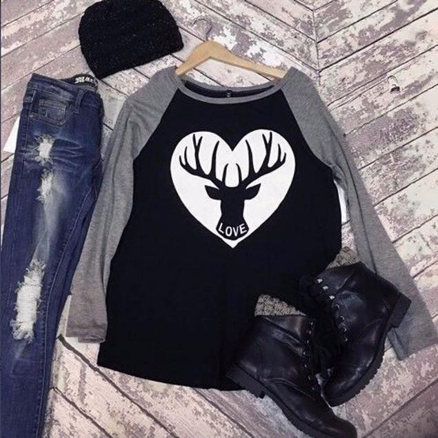 Women Long Sleeve Round Neck Christmas Deer Printing Shirt Top Blouse