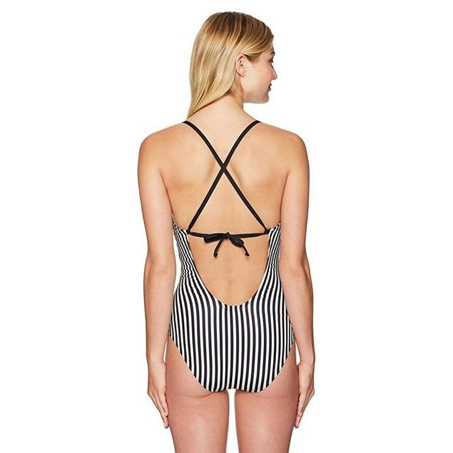 Splendid Women's Itsy Ditsy Floret One Piece Swimsuit, Black/White, XS