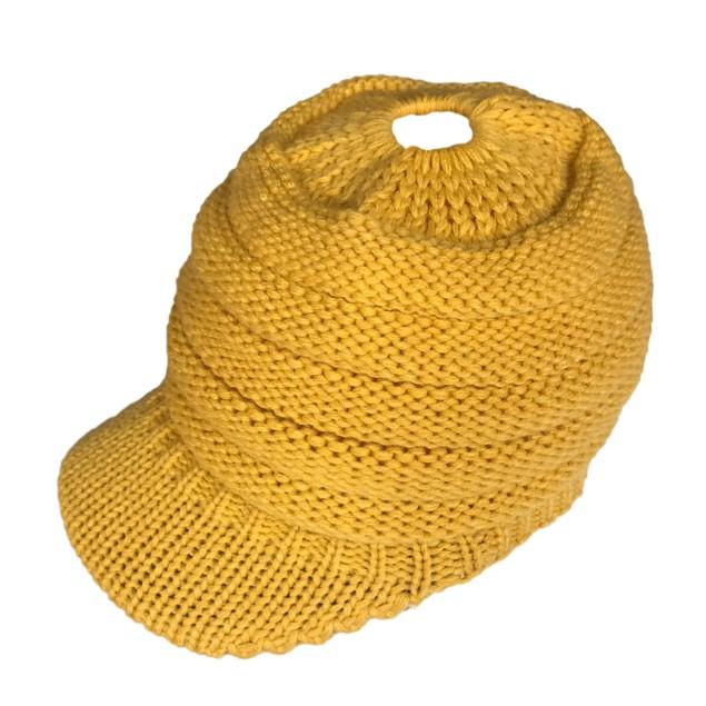 Ladies Knit Ponytail Hat With Peaked Brim