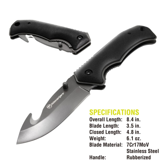 "Kilimanjaro Victus 8"" Folding Stainless-Steel Knife with Gut Hook"