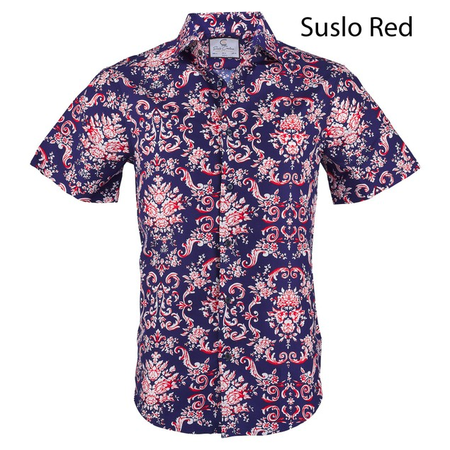 Suslo Couture Men's Slim Fit Designable Short Sleeve Button down
