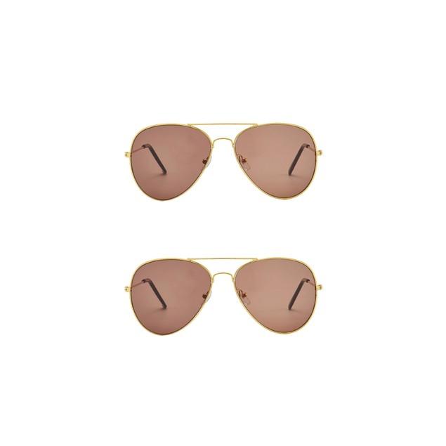Vintage Style Aviator Mirrored Sunglasses - 2 Pack