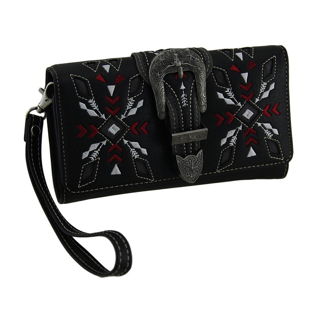 Embroidered Arrows Steer & Star Western Buckle Womens Wallets